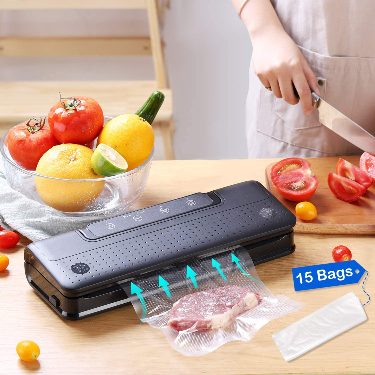 Vacuum Sealer Machine, Automatic Food Sealer withDry & Wet ModesVacuum Sealer forFood Preservation Packed withFood Storage Saver Bag, Safe and Easy to Clean, Black
