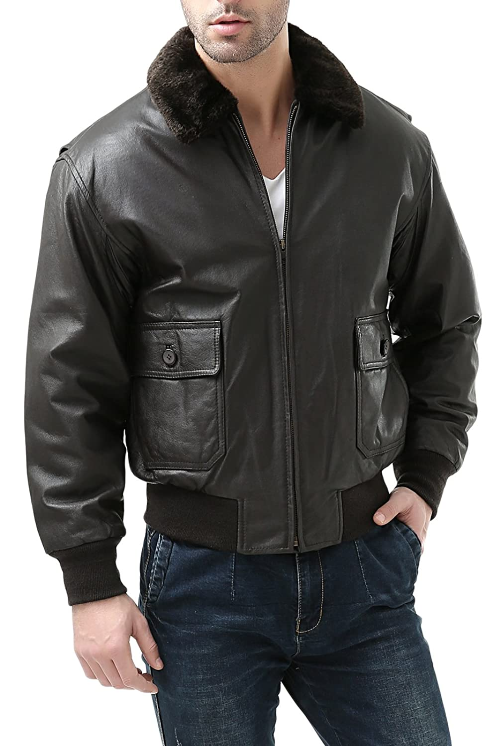 Navy leather flight jackets