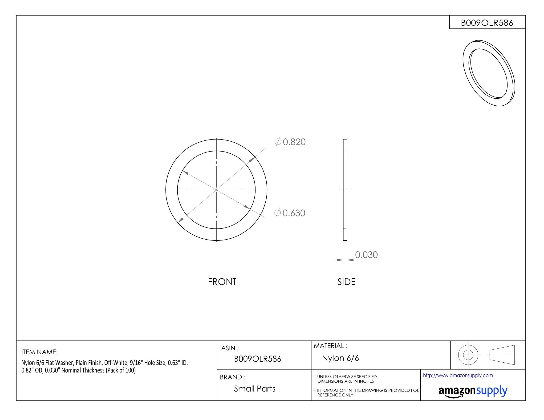 Nylon 6/6 Flat Washer, Plain Finish, Off-White, 9/16'' Hole Size, 0.63'' ID, 0.82'' OD, 0.030'' Nominal Thickness (Pack of 100)