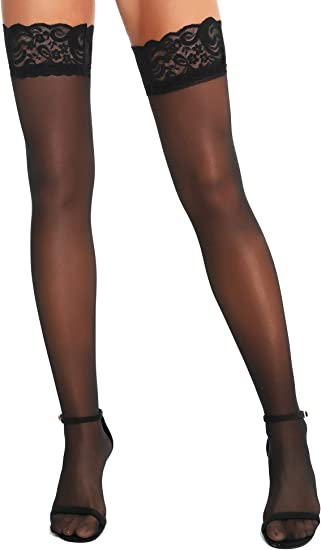 RSLOVE Womens Lace Top Thigh High Sheer Stockings Antiskid Silicone Ultra Shimmery Pantyhose