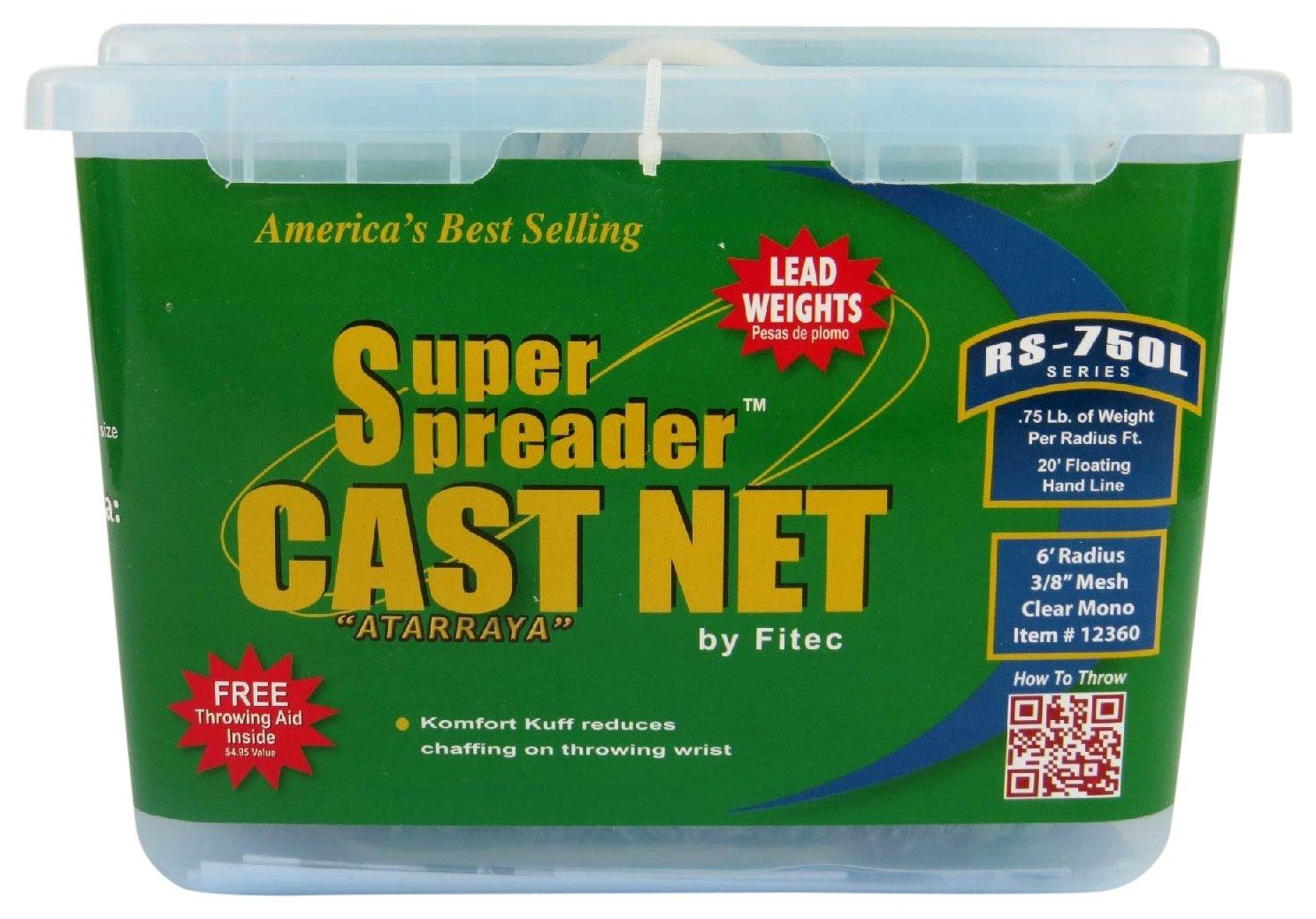 Fitec RS750-L Super Spreader Cast Net Clear 5' Radius, 3/8 mesh, 3/4 Lb Lead WTS 3/8 mesh Big Rock Sports 12350