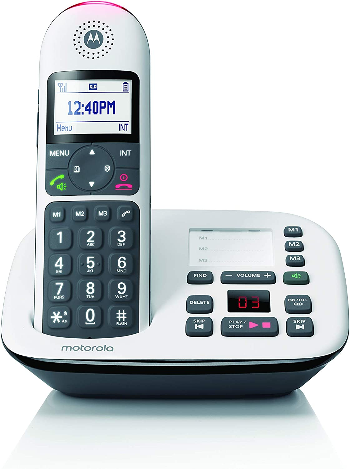 Motorola CD5011 DECT 6.0 Cordless Phone with Answering Machine, Call Block and Volume Boost, White, 1 Handset