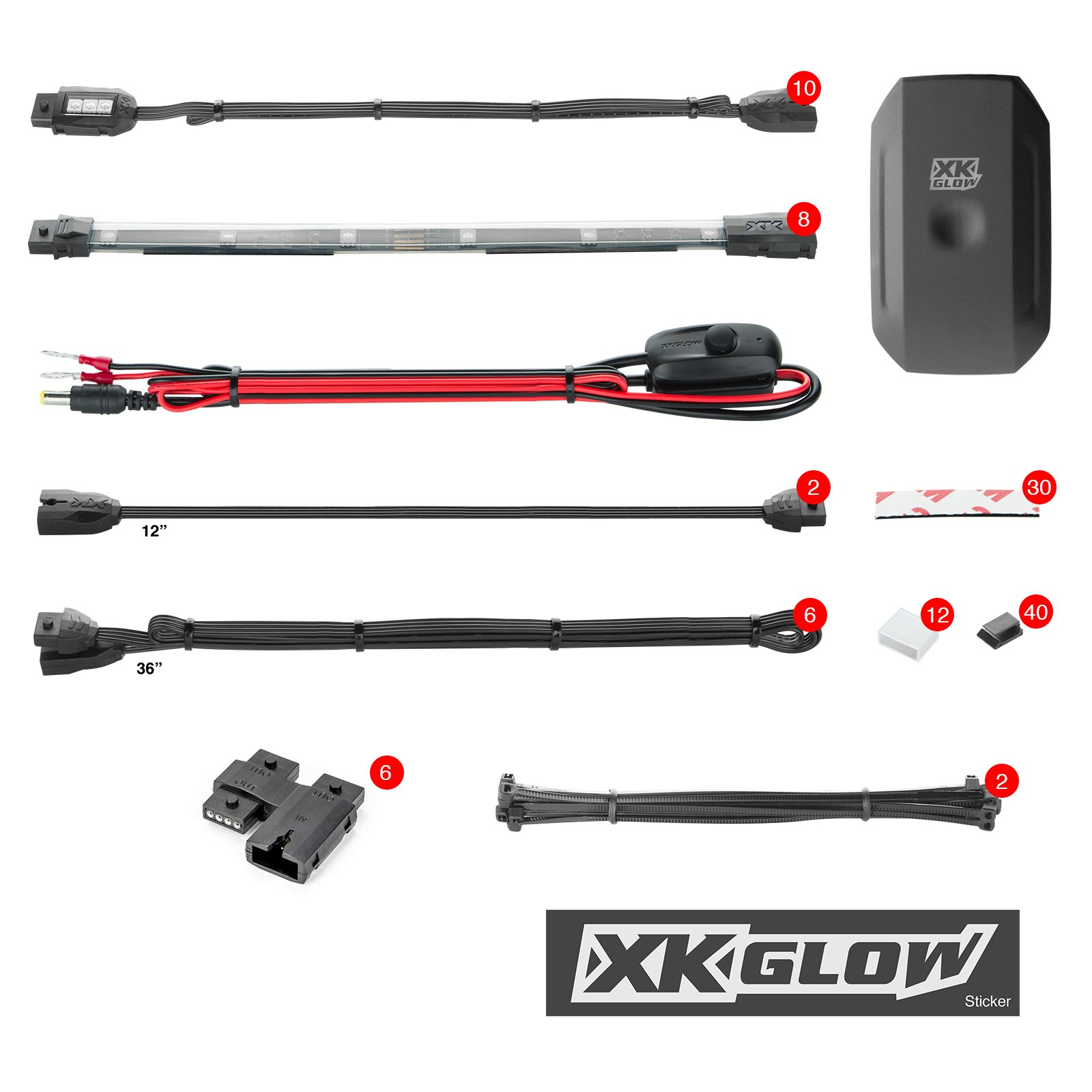XK-GLOW KS-MOTO-ADVANCE 10 Pod 8 Strip 2nd gen XKchrome App Control Motorcycle Advanced LED Accent Light Kit