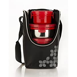 Cello Max Fresh Click Steel Lunch Box, 4 Containers, Red