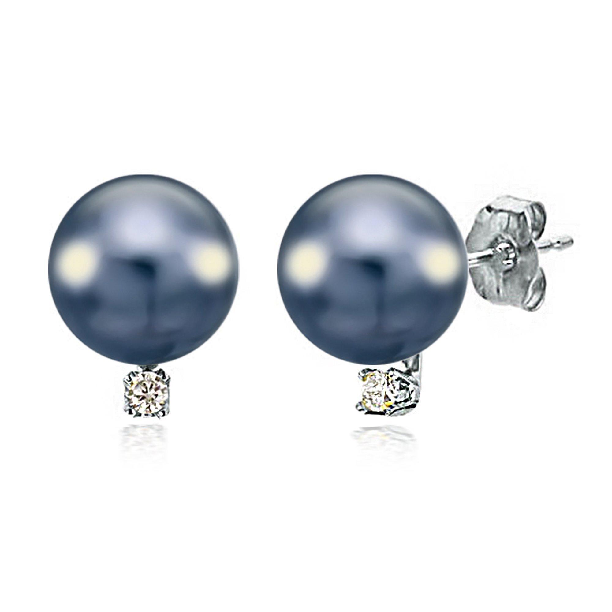 14K White Gold Studs Black Cultured Freshwater Pearl Earrings Diamond Birthday Gift 1/50 CTTW 8-8.5