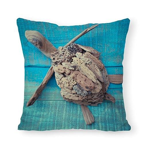 Popeven - Funda de cojín con diseño de Tortuga Azul para ...