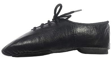 Jazz Black Modern Leather Split Sole Shoes