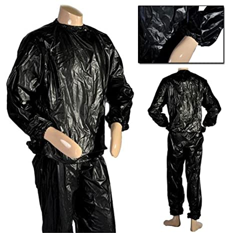 Traje sauna negro para sudar de JJOnlinestore para pérdida de peso en todo el cuerpo, fitness, gimnasio, ejercicio, interiores y exteriores, talla ...
