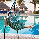 Lazy Daze Hammocks Hanging Rope Hammock Chair Swing Seat with 2 Seat Cushions, Weight Capacity 300 Lbs, Blue and Green