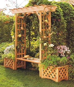 Sunjoy Wooden Trellis Arch Arbor With Seat Amazoncouk Garden