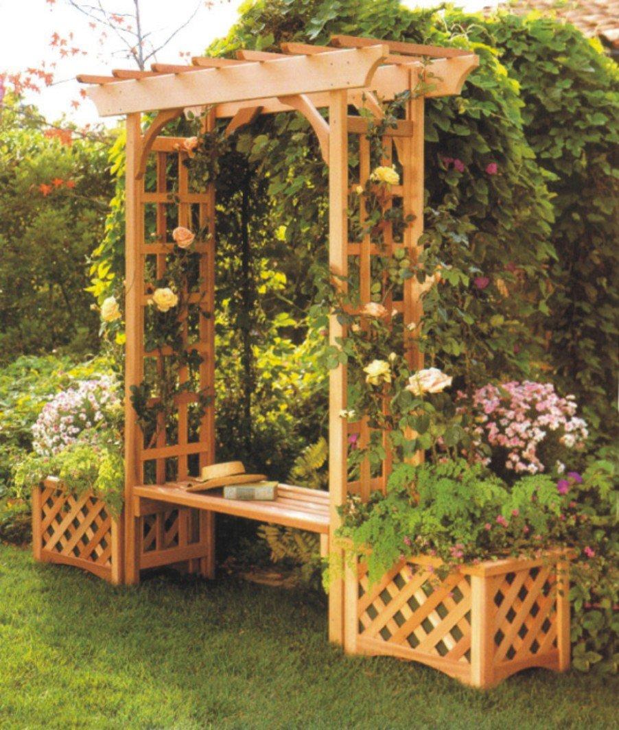 Sunjoy Wooden Trellis Arch Arbor with Seat