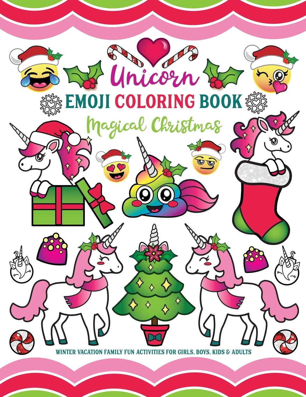 Amazon Com Unicorn Emoji Coloring Book Magical Christmas Winter Vacation Family Fun Activities For Girls Boys Kids Adults 9781643400105 Nyx Spectrum Books