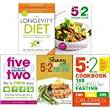 Longevity diet, 5 2 diet recipe book, five two for a new you, 5 2 diet meals for one and 5 2 cookbook 5 books collection…