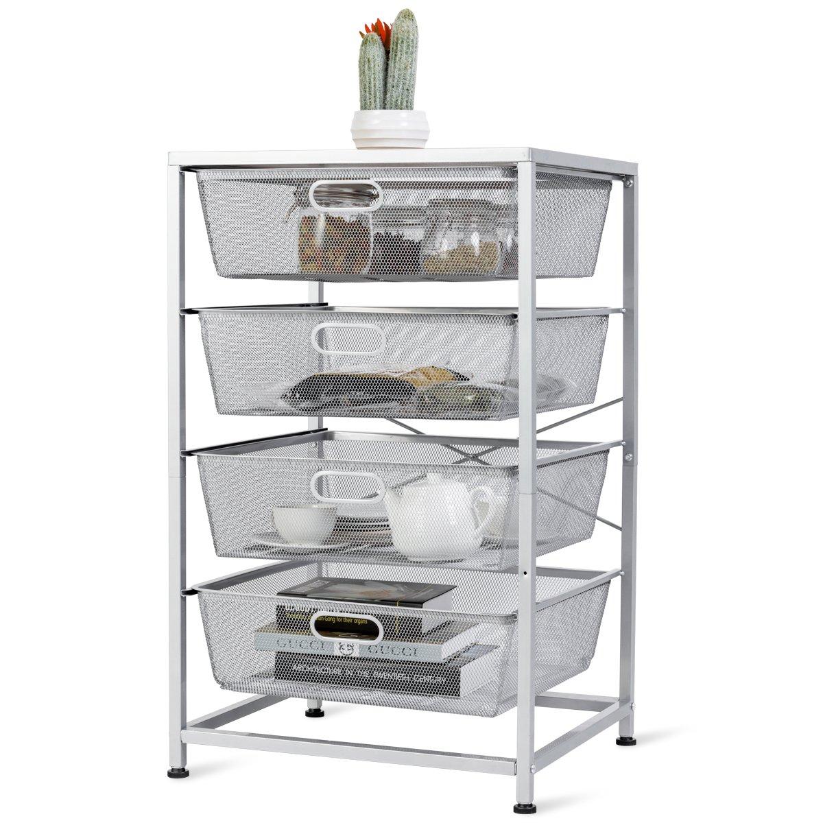 Giantex Mesh Storage Basket 4 Drawer Multifunction Utility Heavy Duty Storage Organizer, for Kitchen and Bathroom Organization