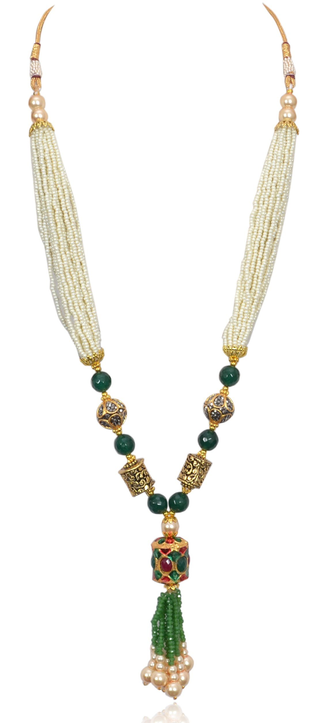 Sansar India Beaded Tassel Indian Necklace Jewelry for Girls and Women 1265