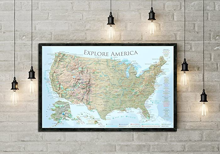 FOUND In ITHACA Large Framed Vintage Map Of The US United States - Large framed us map