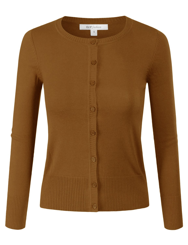 ELF FASHION Women Top Button Crew Neck Cardigun Sweater (Size S~3XL) DUSTYMUSTARD L