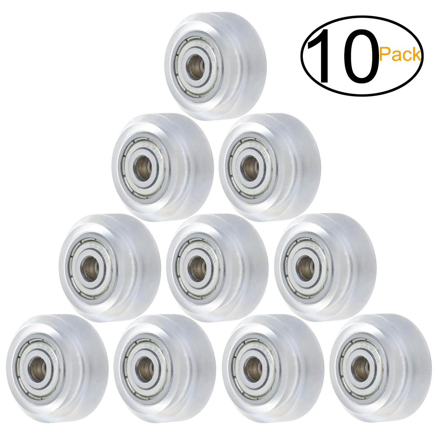 CHEERBRIGHT 20pcs Nylon Small Roller Bearings Plastic Pulley Wheels for Door Windows Furniture Shower Accessories 5x23x7.5mm