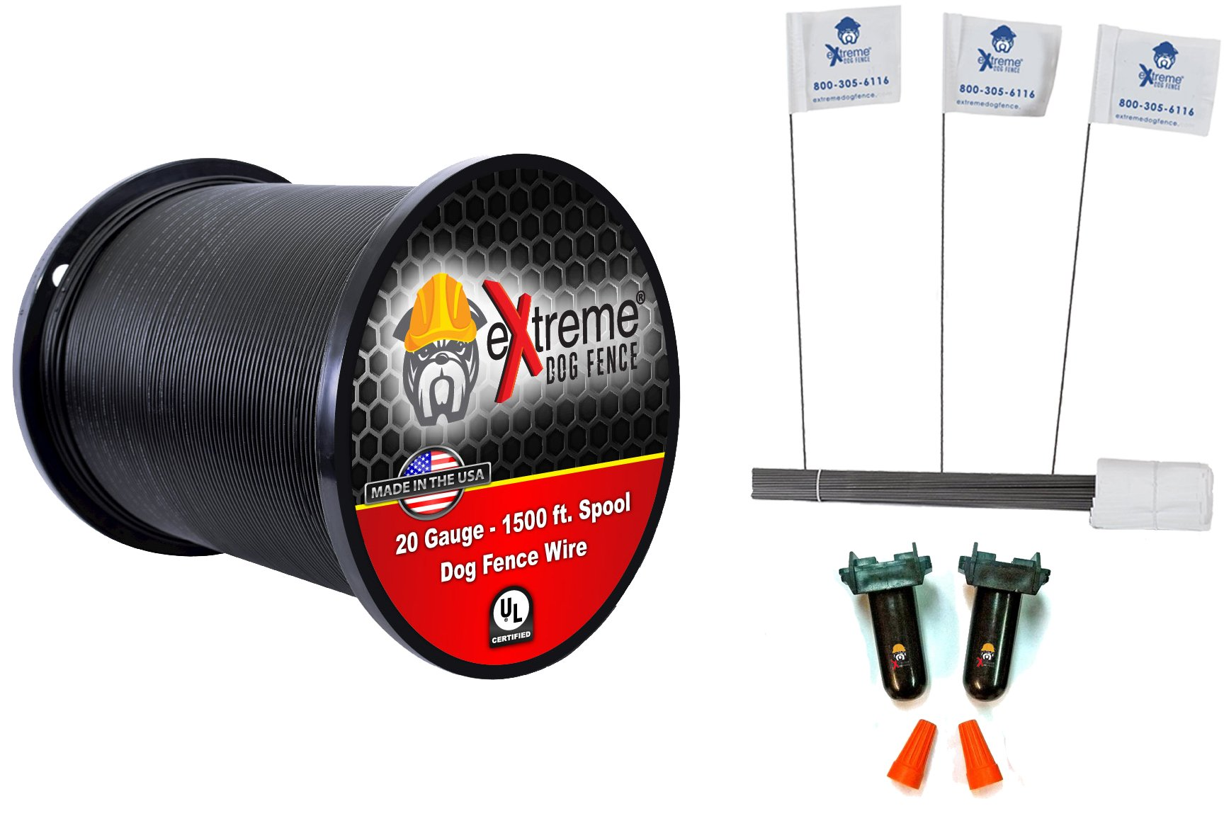 20 Gauge Wire 1500 Kit - Pet Containment Wire Setup Kit Compatible with EVERY In-Ground Fence System for Dogs - Includes 6 Splices and 150 Training Flags Bundle