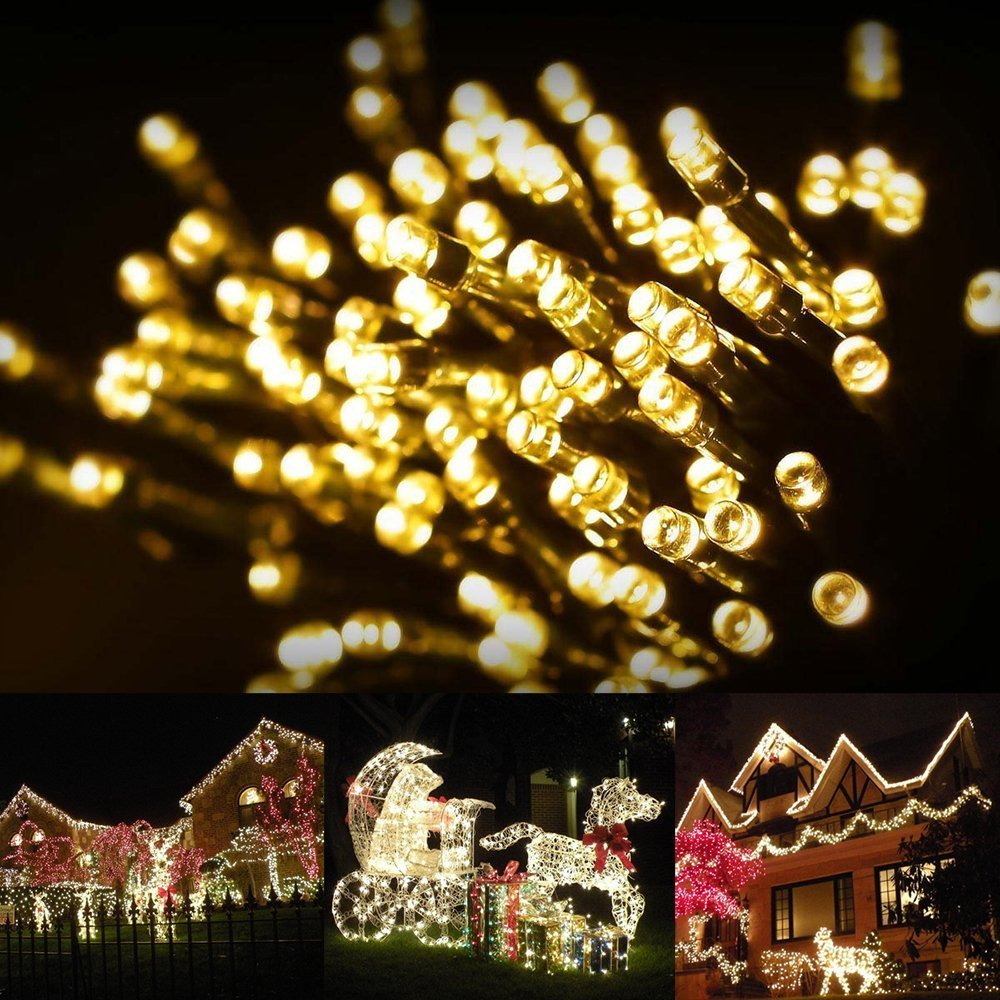 amazoncom outdoor solar string lights by firstlights christmas patio waterproof lights 39 feet 100 led powered fairy lights warm white patio - Led Warm White Christmas Lights