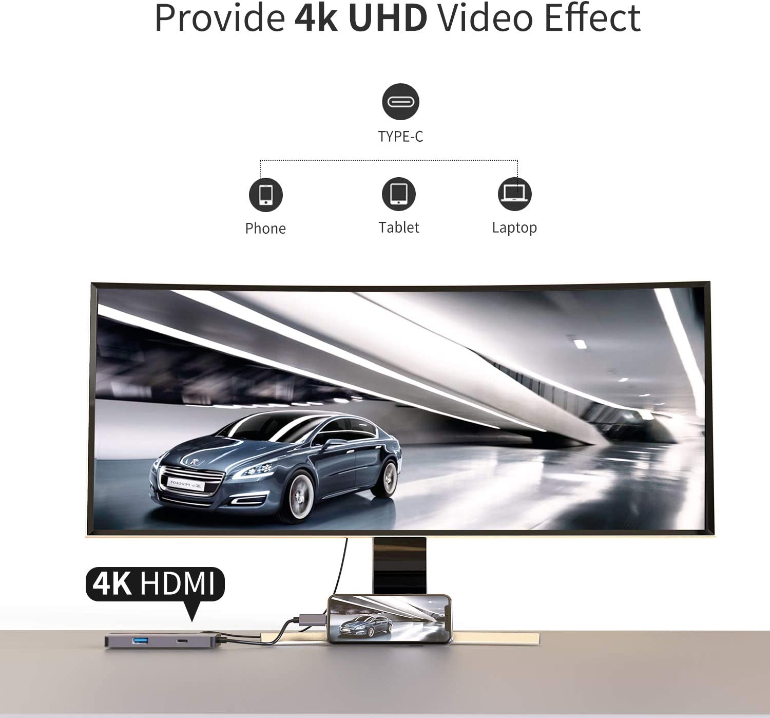 USB C Hub with Type C Power Delivery PD Charging Port Google Chromebook Pixel AUDIANO 6-in-1 USB C Adapter with 4K HDMI SD//TF Card Reader,2 USB 3.0 Ports Compatible with MacBook Pro 2018//2017