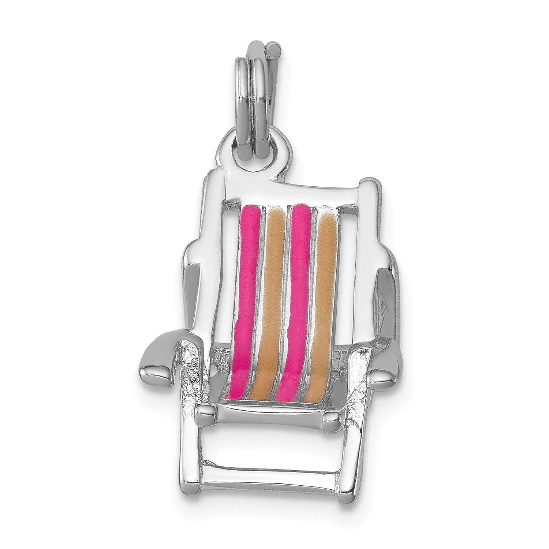 Bonyak Jewelry Sterling Silver Rhodium-platedEnamel Beach Chair Charm
