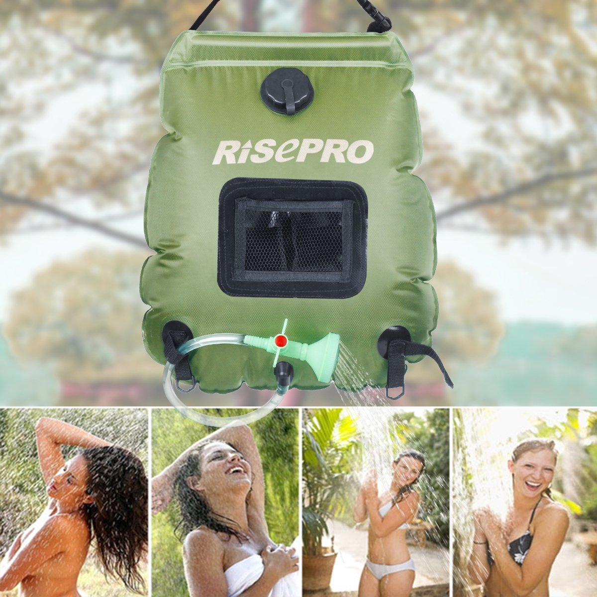 agua caliente hasta 45//°C 20 litros para c/ámping con alcachofa de ducha conectable y manguera extra/íble Risepro K8 Bolsa de ducha Solar de alta calidad