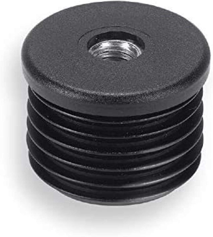 mit verzinkter Stahlmutter schwarz 2 Gewindebuchsen Kunststoff f/ür Rundrohre