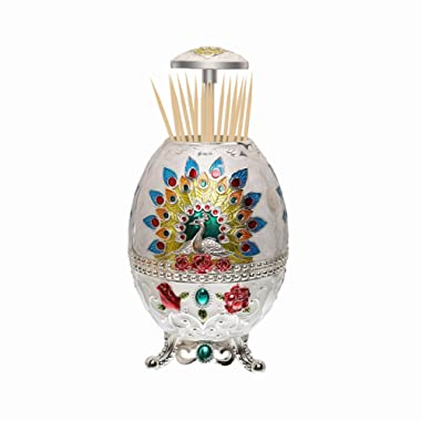Portable Retractable Toothpick Holder with Bottle Opener Automatic Retro Pop Up Toothpick Dispenser Toothpicks Case Storage Organizer Container Decoration for Kitchen (Peacock-Jade White)