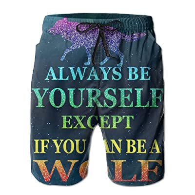 Tdhrv Whdyrl Always Be Yourself Wolf Rainbow Glitter Men's Quick Dry Swim Trunks Lightweight Board Shorts With Pockets