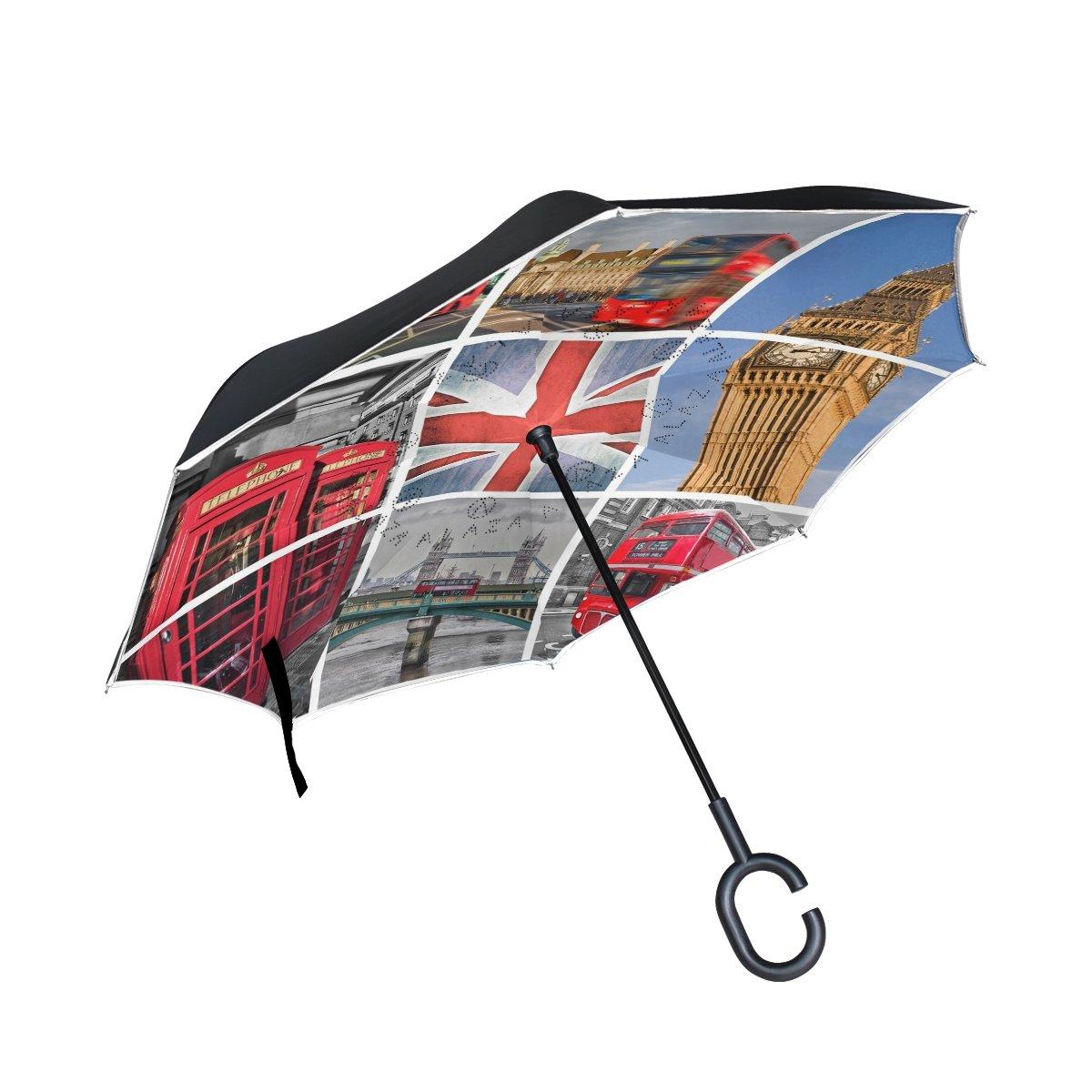 e4ab39dc5e 60%OFF ALAZA Cityscape London Union Jack Big Ben Tower Bridge Inverted  Umbrella