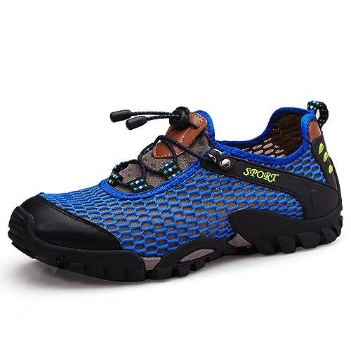 Eagsouni® Hombres Resbalón Ata para Arriba Respirable en los Zapatos de Malla Zapatos gUN4lf2B