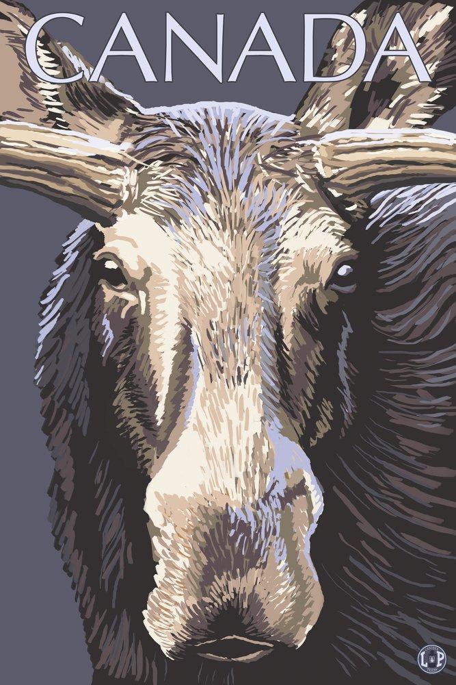 カナダ – Moose Face 36 x 54 Giclee Print LANT-15108-36x54 36 x 54 Giclee Print  B017EA1IHC
