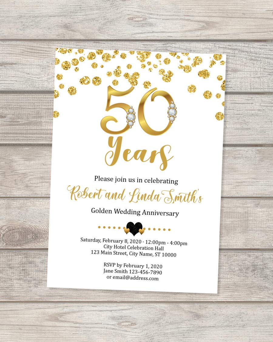 4th Wedding Anniversary Invitation, Black And Gold 4th Anniversary  Invitation, Golden Anniversary Invite, 4th Golden Wedding Anniversary
