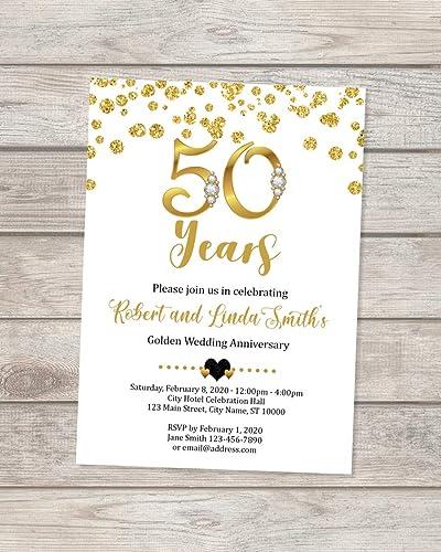 Amazon Com 50th Wedding Anniversary Invitation Black And Gold