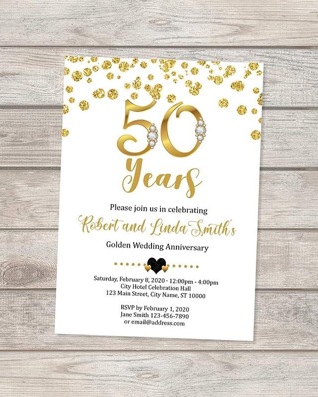 Golden Wedding Anniversary Invitation Chevron Anniversary Invite Digital Chalkboard /& Gold Glitter 50th Anniversary Invitation