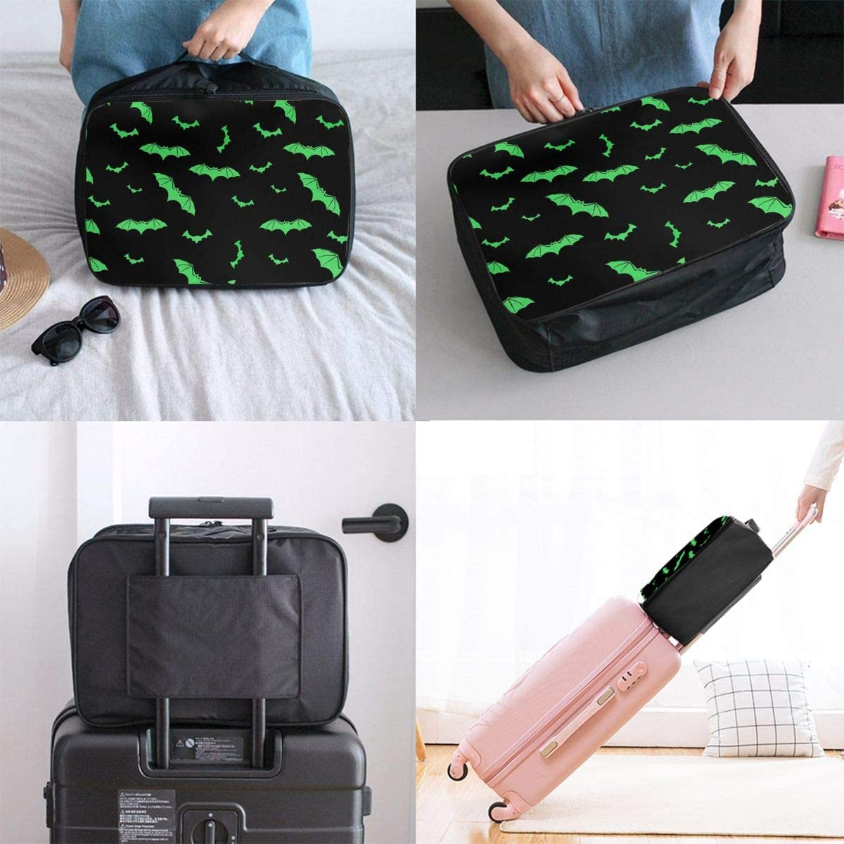 Green Bat Travel Carry-on Luggage Weekender Bag Overnight Tote Flight Duffel In Trolley Handle