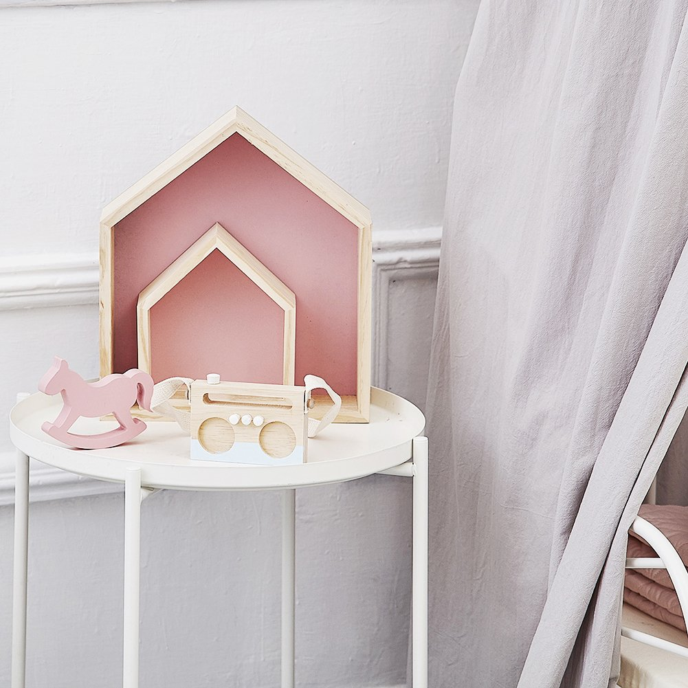 PROKTH Wooden Pine House-shaped Wall Storage Shelf Attractive ...
