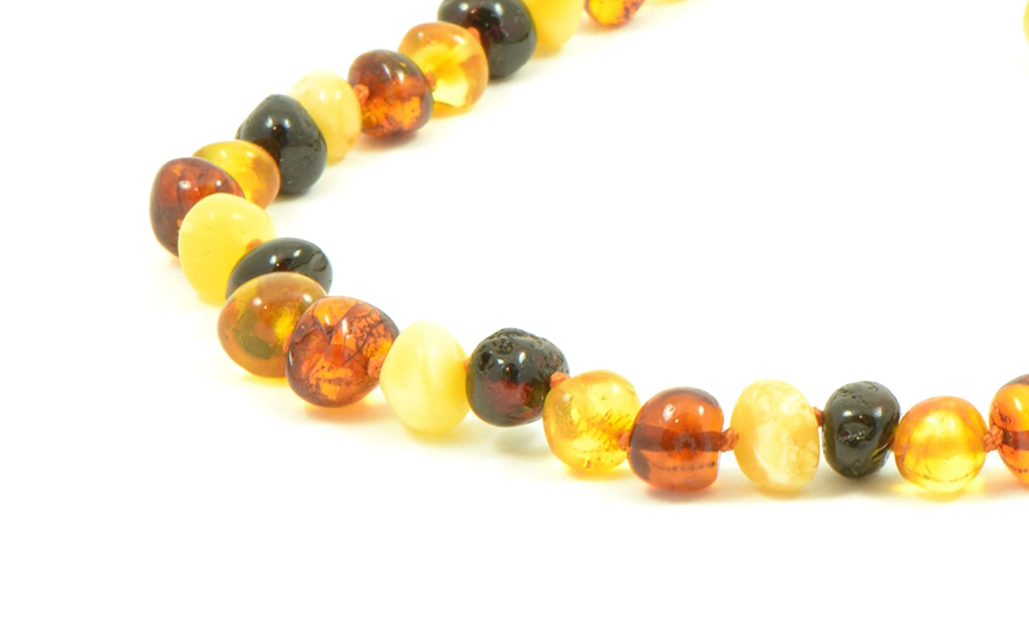 Baltic Amber Teething Necklace for Baby 36cm Amber Jewelry Unisex , Rainbow TheNaturalAmber B23-T1 14 inch Hand-Made from Certified Genuine Baltic Amber Beads