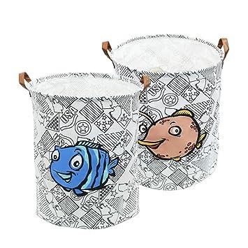 2 Pack 19.7 Waterproof Collapsible Storage Basket for Laundry Bin,Kids Room,Home Organizer,Nursery Storage,Baby Hamper Grey