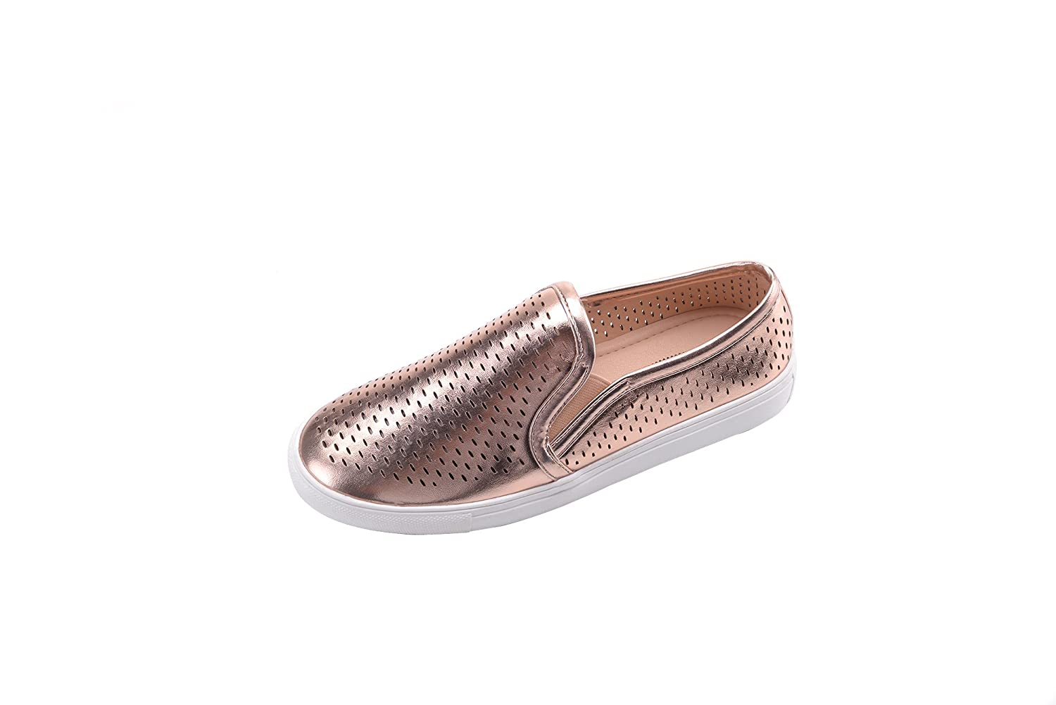 Ashley A Collection EMERLY Women Canvas Slip On Laser Cut Fashion Sneakers, for sale