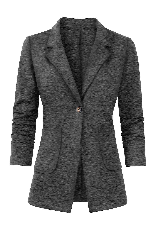 Women's Casual Work Office Blazer Long Sleeve Open Front Work Office Blazer Jacket Gray