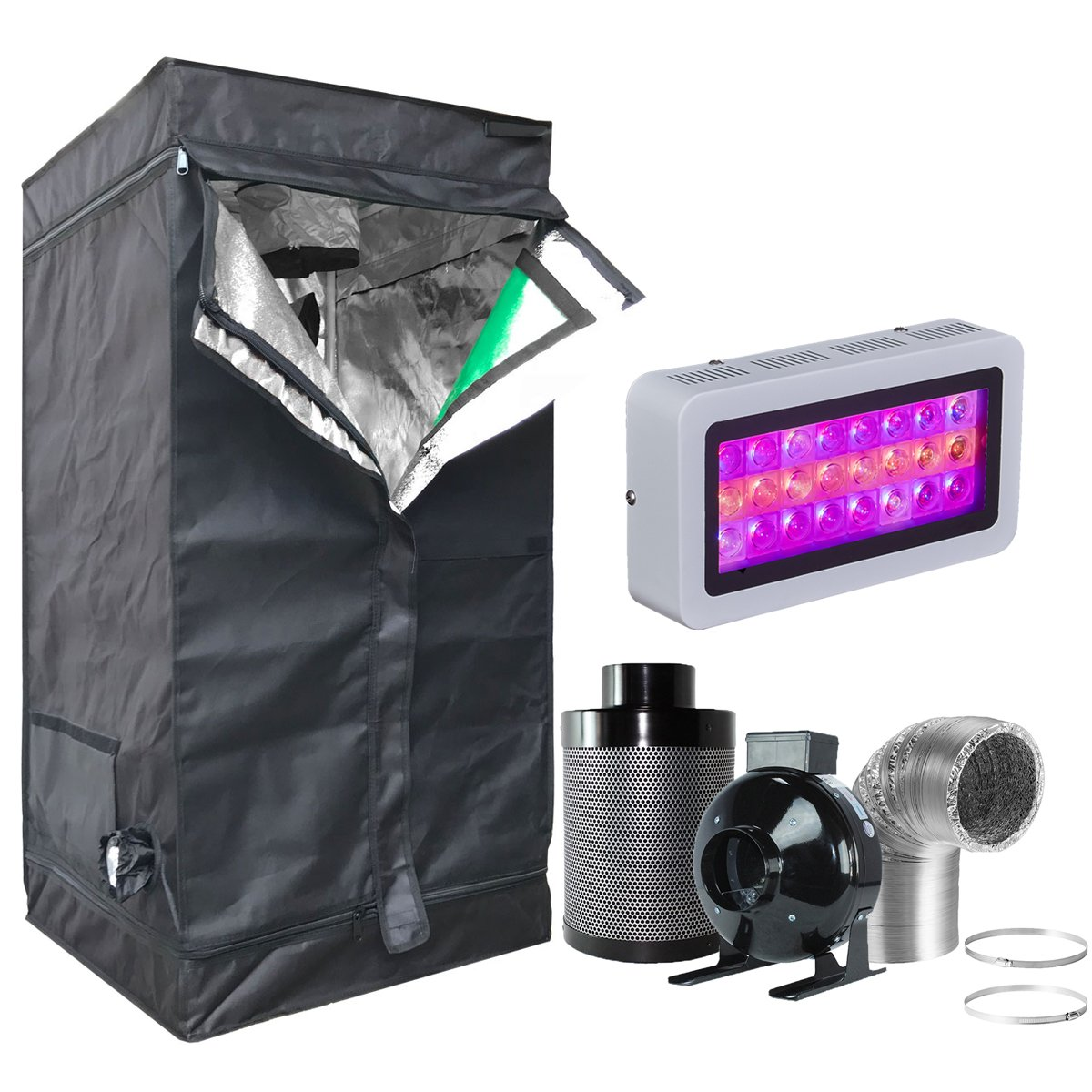 Hongruilite 300w/600w LED Grow Light+Multi-sized Grow Tent+4'' Inline Fan Carbon Air Filter Ducting Combo for Hydroponic Indoor Plant Growing System (300W LED+24''X24''X48''Grow Tent(T)+4''Filter Kit) by Hongruilite