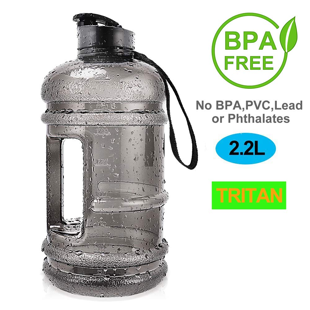 ENINE Water Jug 2.2L Large Sport Water Bottle Big Capacity Leakproof Container BPA Free Plastic with Carrying Loop Fitness for Camping Training Bicycle Hiking Gym Outdoor