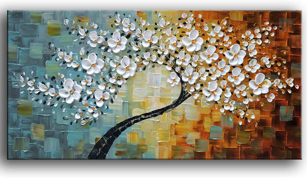 YaSheng Art -100% Hand-Painted Contemporary Art Oil Painting On Canvas Texture Palette Knife Landscape Paintings Modern Home Interior Decor Abstract Art 3D Flowers Paintings Ready to Hang 20x40inch