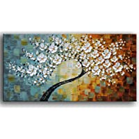 YaSheng Art 100% hand-painted Contemporary Art Oil Painting On Canvas Texture Palette Knife Tree Paintings Modern Home Interior Decor Abstract Art 3D Flowers Paintings