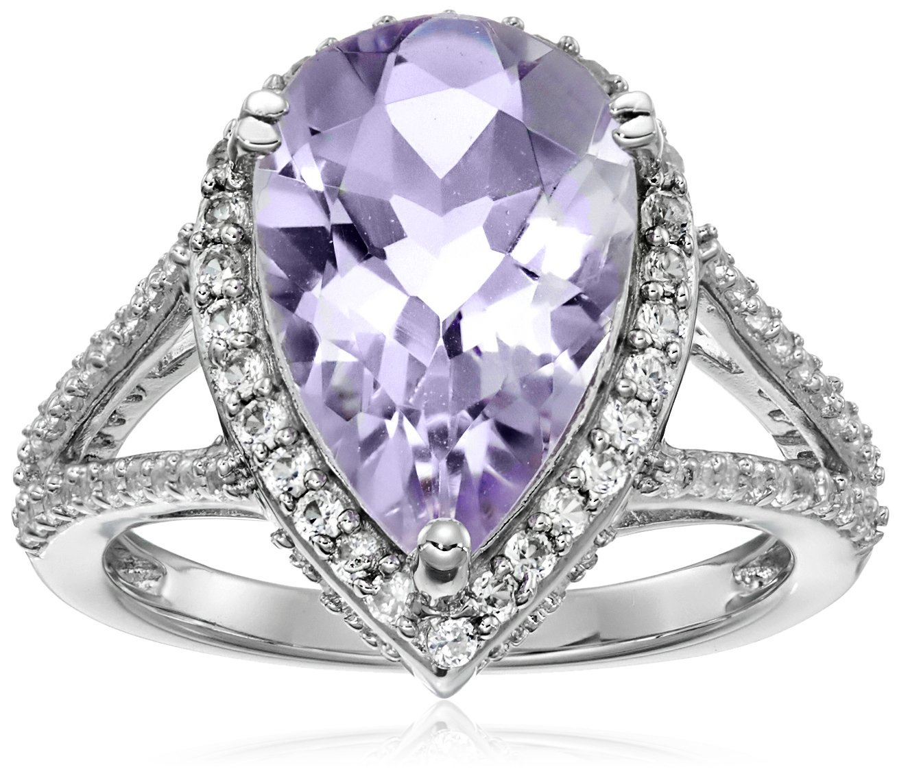 Sterling Silver Rose De France Amethyst Pear with Created White Sapphire Ring, Size 7