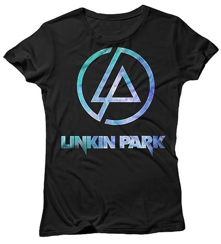 LaMAGLIERIA T-Shirt Donna Linkin Park - Light Blue Texture Maglietta 100% Cotone