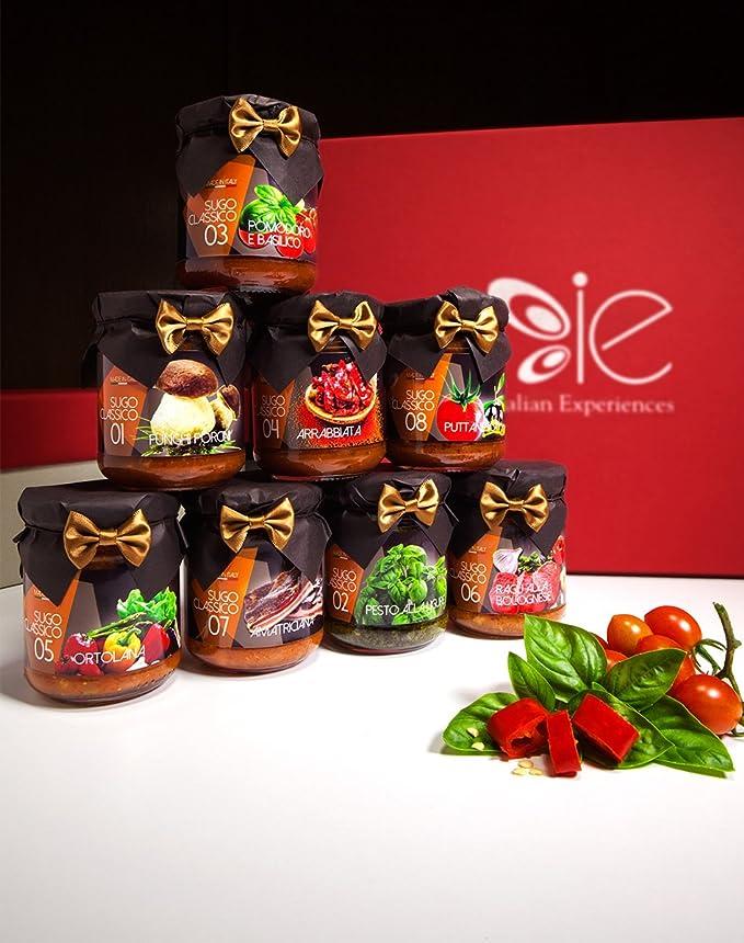 Caja de regalo gourmet: una selección de los 8 más famosas salsas italianas: Amazon.es: Alimentación y bebidas