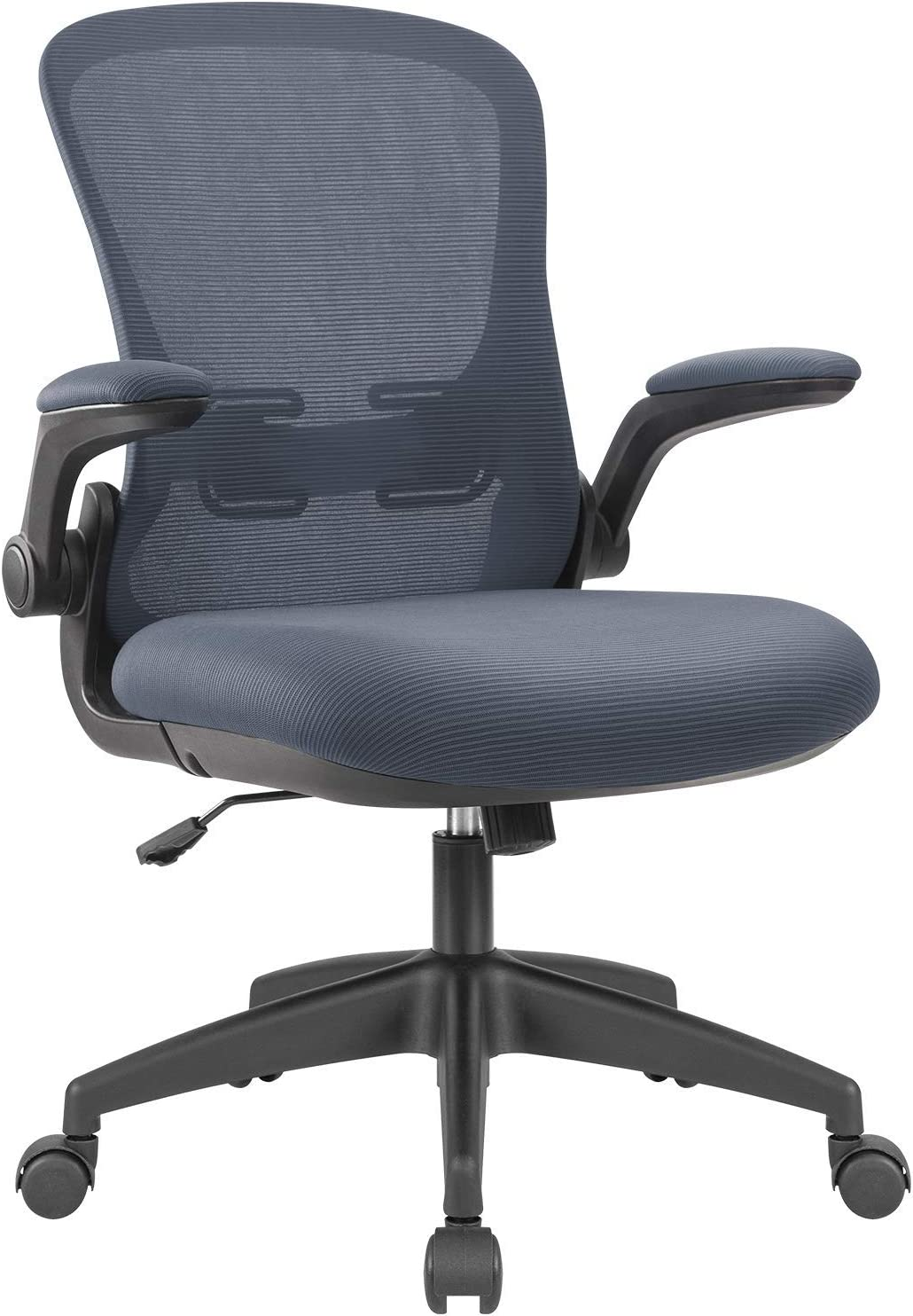 Devoko Office Desk Chair Ergonomic Mesh Chair Lumbar Support with Flip-up Arms and Adjustable Height (Grey)